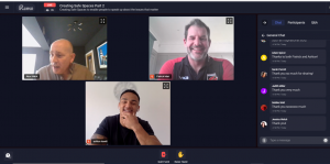 Screenshot of the virtual conference showing Alex, Patrick and Ashton laughing